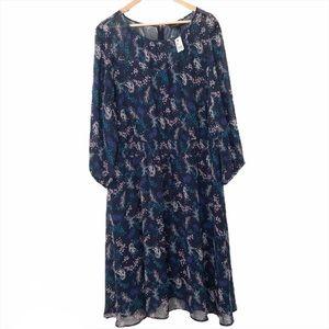 Lane Bryant Navy Floral Long Sleeve Romantic Dress